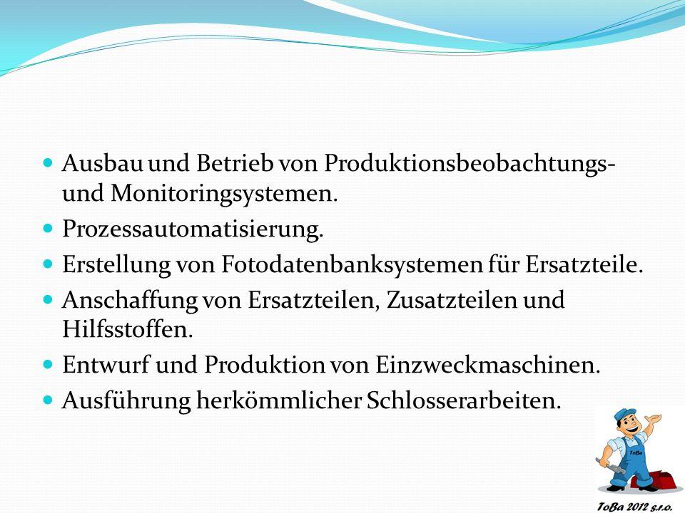 Ausbau und Betrieb von Produktionsbeobachtungs- und Monitoringsystemen.