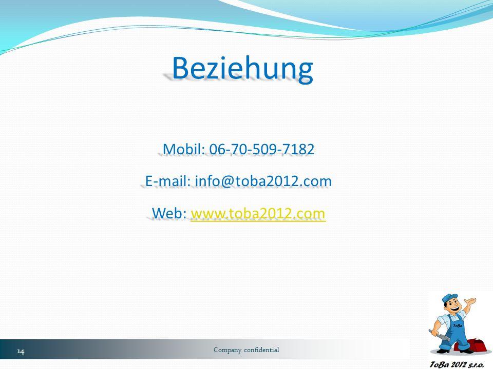 14 Company confidential Beziehung Mobil: 06-70-509-7182 E-mail: info@toba2012.com Web: www.toba2012.com www.toba2012.com