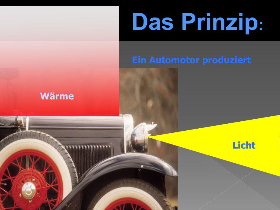 Das Prinzip : Wärme Licht Ein Automotor produziert