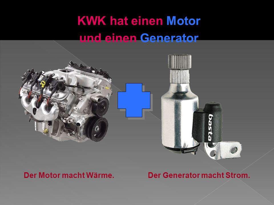 KWK hat einen Motor Der Motor macht Wärme.Der Generator macht Strom. und einen Generator