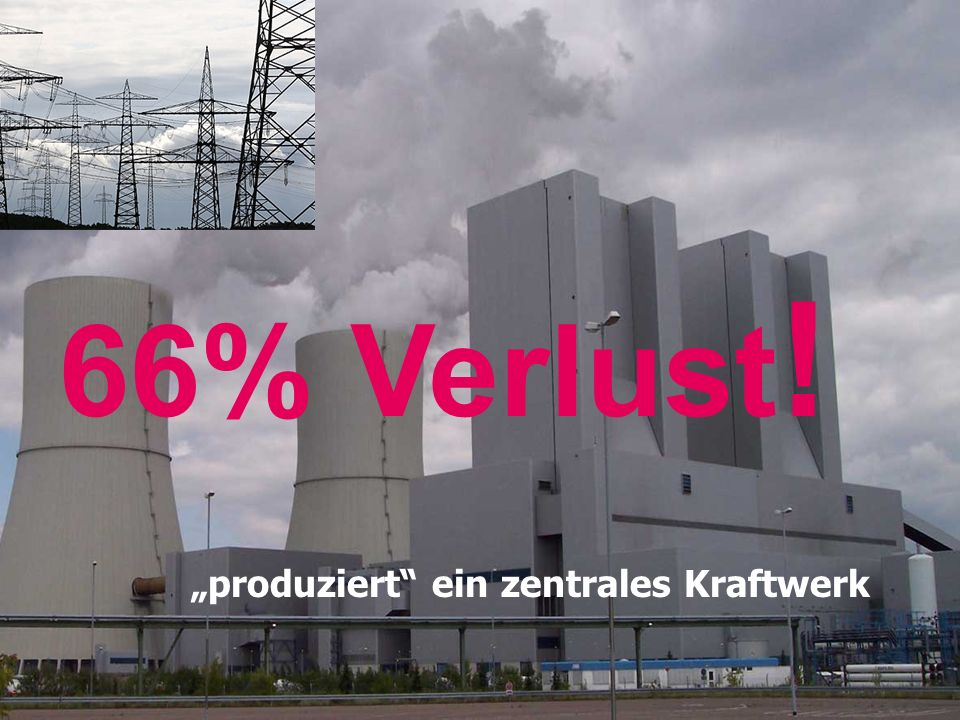 66% Verlust ! produziert ein zentrales Kraftwerk