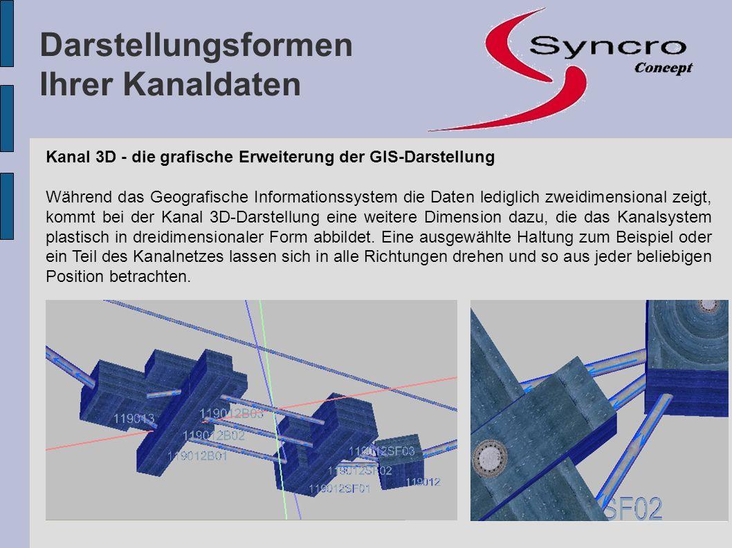 Kanal 3D - die grafische Erweiterung der GIS-Darstellung Während das Geografische Informationssystem die Daten lediglich zweidimensional zeigt, kommt