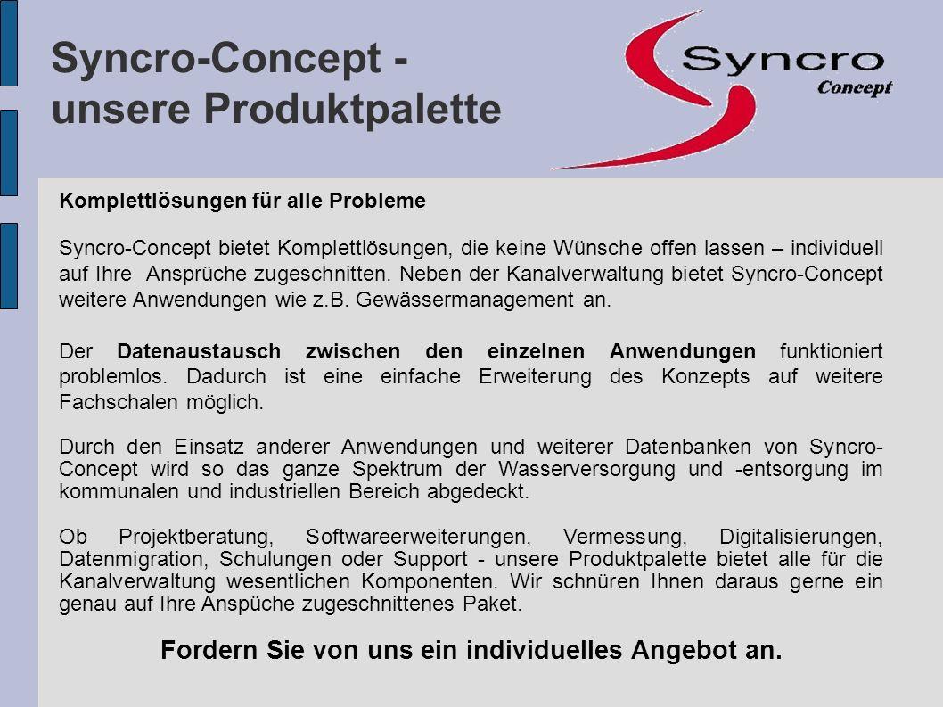 Komplettlösungen für alle Probleme Syncro-Concept bietet Komplettlösungen, die keine Wünsche offen lassen – individuell auf Ihre Ansprüche zugeschnitt
