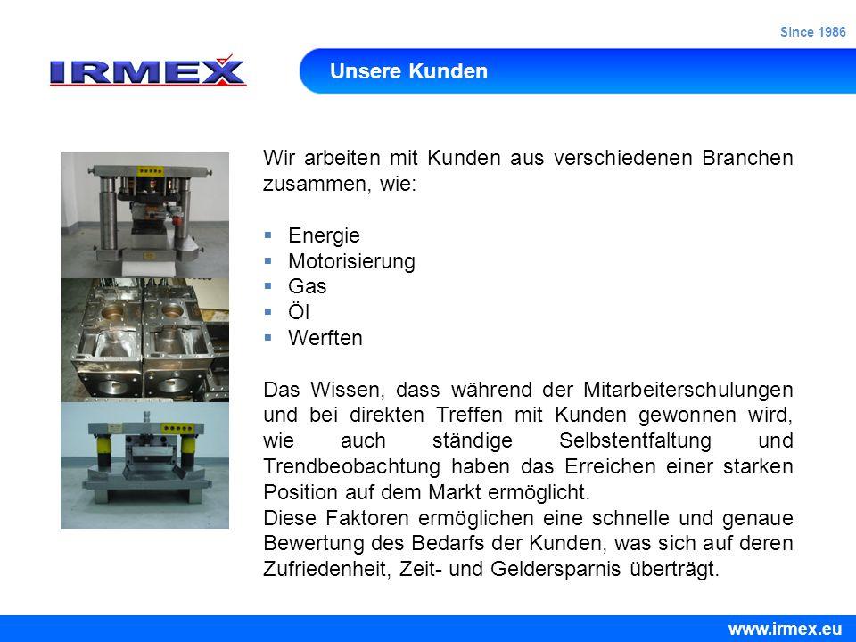 Qualität Irmex hat im Mai 2008 das Qualitätszertifikat ISO 9001: 2008 im Bereich der komplexen Zerspranung eingeführt, dass eine Bestätigung dessen ist, dass alle unsere Produkte und Dienstleistungen gemäß der geltenden Normen für Sie ausgeführt werden.