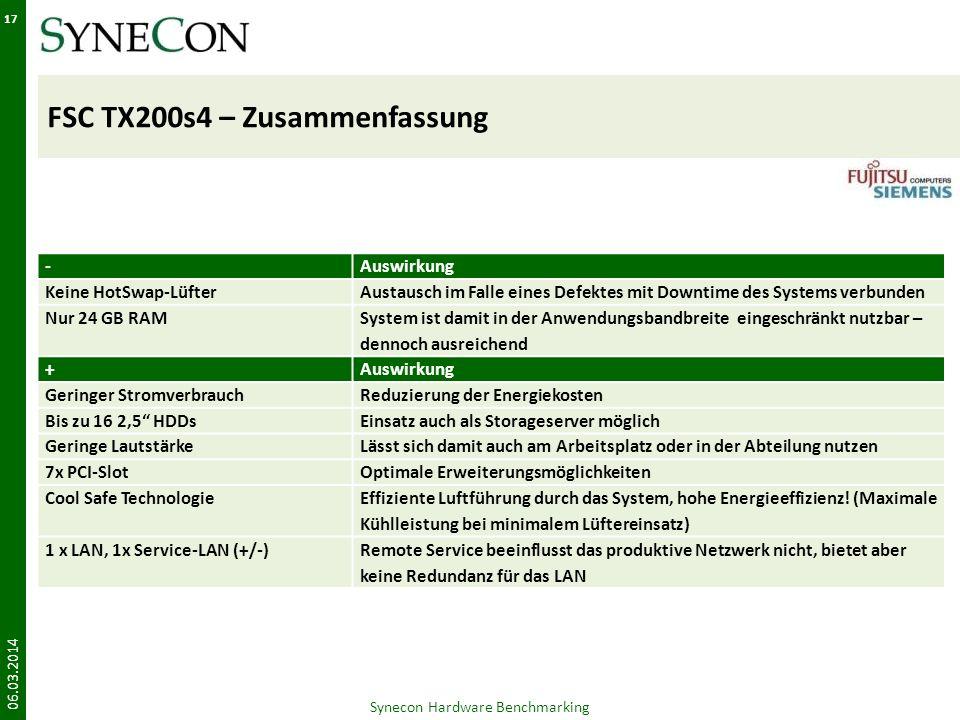FSC TX200s4 – Zusammenfassung 06.03.2014 17 Synecon Hardware Benchmarking -Auswirkung Keine HotSwap-LüfterAustausch im Falle eines Defektes mit Downti
