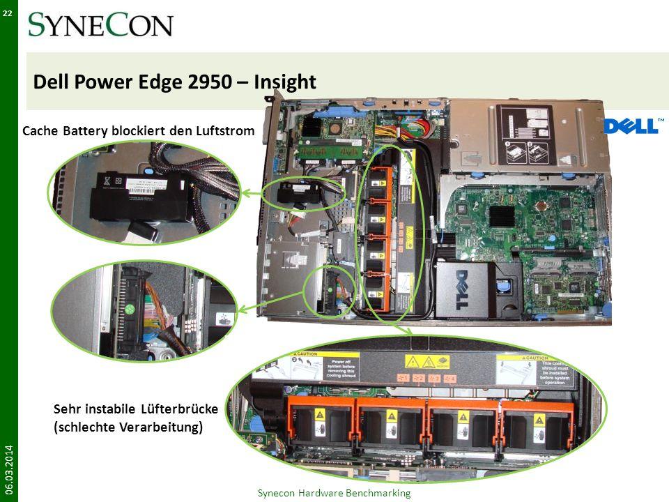 Dell Power Edge 2950 – Insight 06.03.2014 22 Synecon Hardware Benchmarking Cache Battery blockiert den Luftstrom Sehr instabile Lüfterbrücke (schlecht