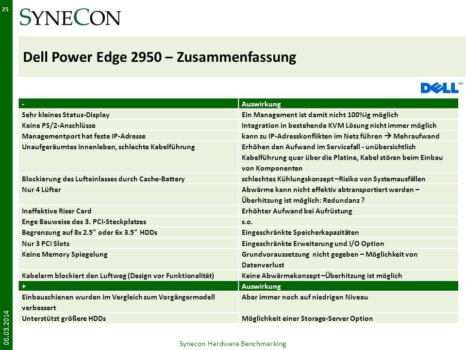 Dell Power Edge 2950 – Zusammenfassung 06.03.2014 25 Synecon Hardware Benchmarking -Auswirkung Sehr kleines Status-DisplayEin Management ist damit nic