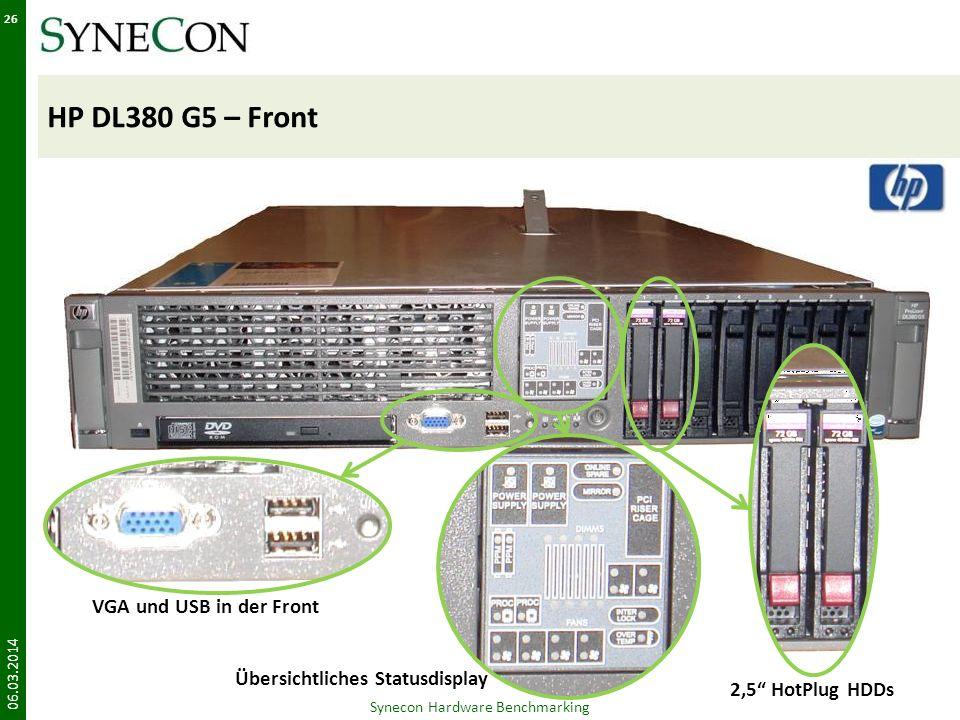 HP DL380 G5 – Front 06.03.2014 26 Synecon Hardware Benchmarking VGA und USB in der Front Übersichtliches Statusdisplay 2,5 HotPlug HDDs