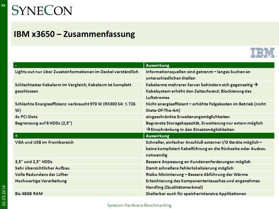 IBM x3650 – Zusammenfassung 06.03.2014 39 Synecon Hardware Benchmarking -Auswirkung Lights out nur über Zusatzinformationen im Deckel verständlich Inf