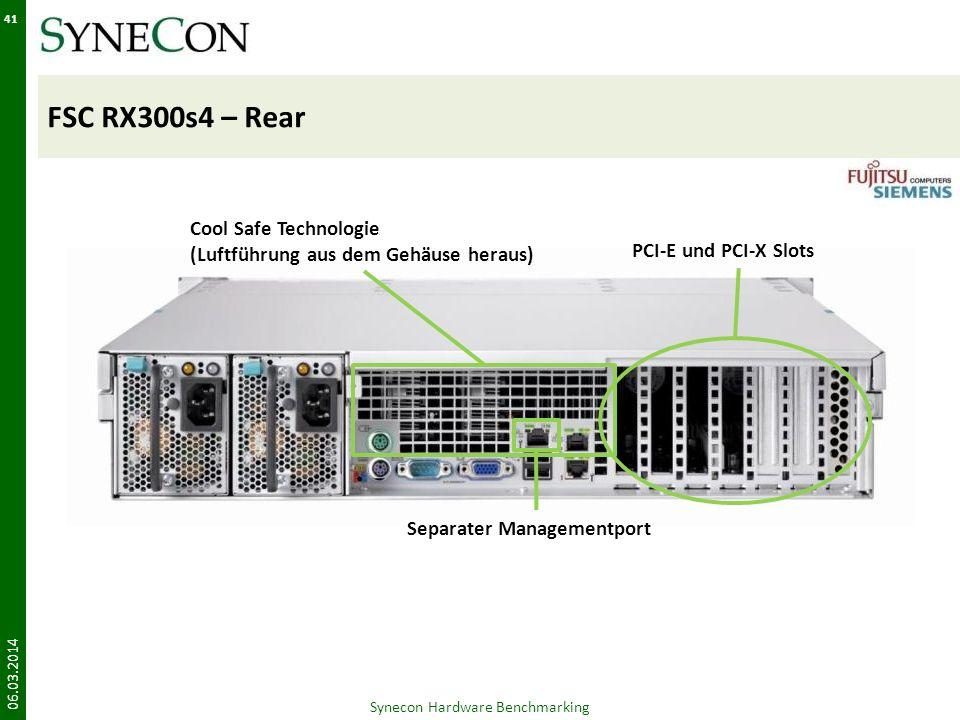 FSC RX300s4 – Rear 06.03.2014 41 Synecon Hardware Benchmarking PCI-E und PCI-X Slots Separater Managementport Cool Safe Technologie (Luftführung aus d