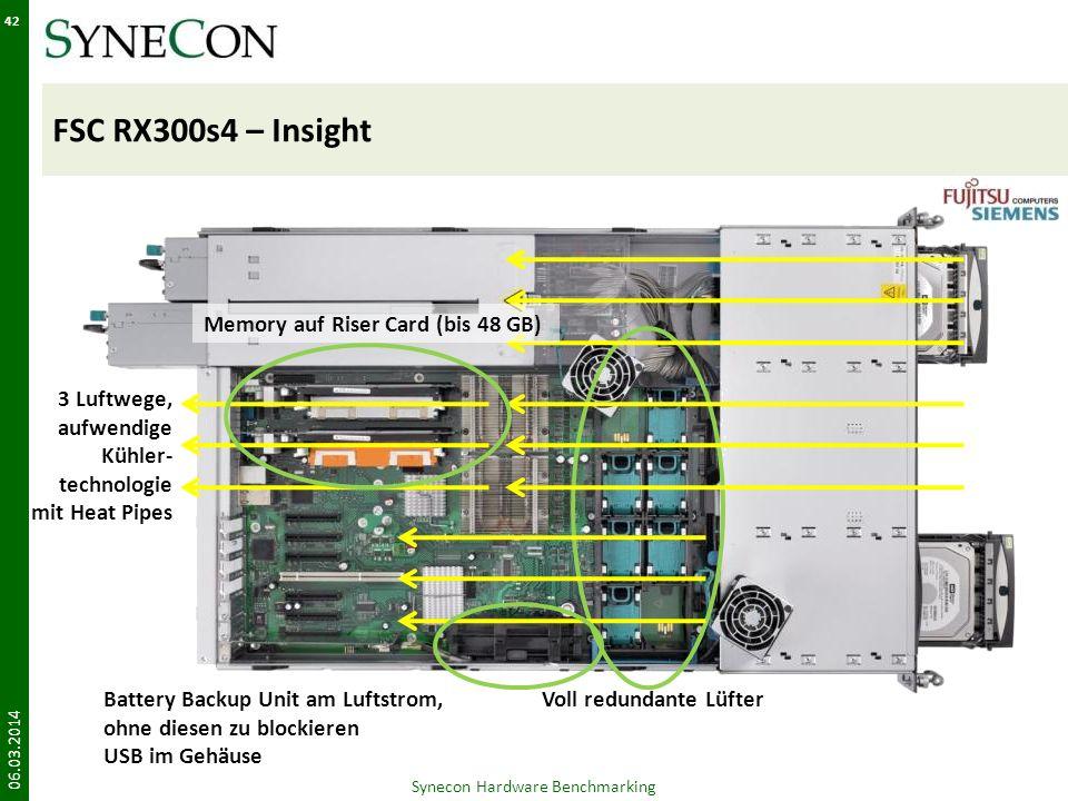 FSC RX300s4 – Insight 06.03.2014 42 Synecon Hardware Benchmarking Voll redundante Lüfter 3 Luftwege, aufwendige Kühler- technologie mit Heat Pipes Mem