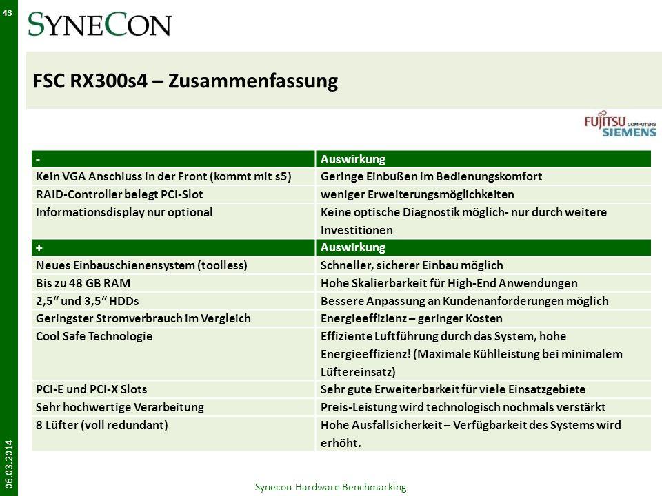 FSC RX300s4 – Zusammenfassung 06.03.2014 43 Synecon Hardware Benchmarking -Auswirkung Kein VGA Anschluss in der Front (kommt mit s5)Geringe Einbußen i