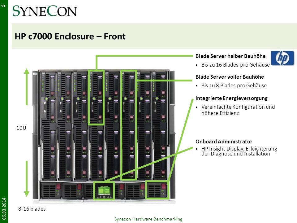 HP c7000 Enclosure – Front Synecon Hardware Benchmarking 51 Blade Server halber Bauhöhe Bis zu 16 Blades pro Gehäuse Blade Server voller Bauhöhe Bis z