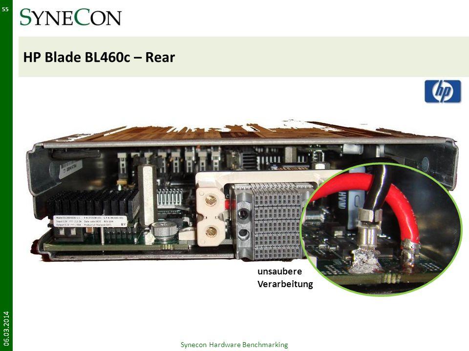 HP Blade BL460c – Rear 06.03.2014 55 unsaubere Verarbeitung Synecon Hardware Benchmarking