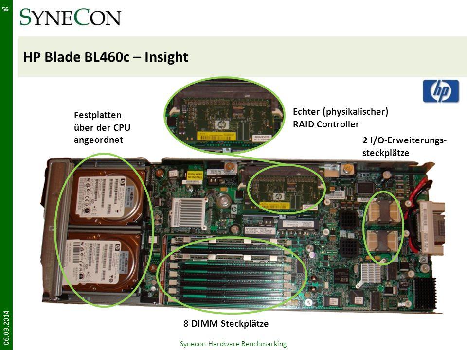 HP Blade BL460c – Insight 06.03.2014 56 Festplatten über der CPU angeordnet Echter (physikalischer) RAID Controller 2 I/O-Erweiterungs- steckplätze 8