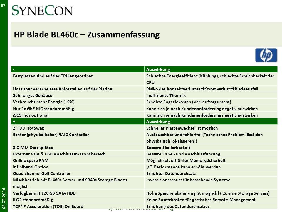 HP Blade BL460c – Zusammenfassung 06.03.2014 Synecon Hardware Benchmarking 57 -Auswirkung Festplatten sind auf der CPU angeordnet Schlechte Energieeff