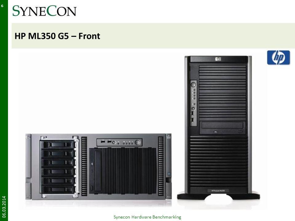 HP DL380 G5 – Rear 06.03.2014 27 Synecon Hardware Benchmarking Werkzeug für den Einbau der Komponenten wird IKEA-like gleich mitgeliefert Managementport ist standardmäßig auf DHCP eingestellt