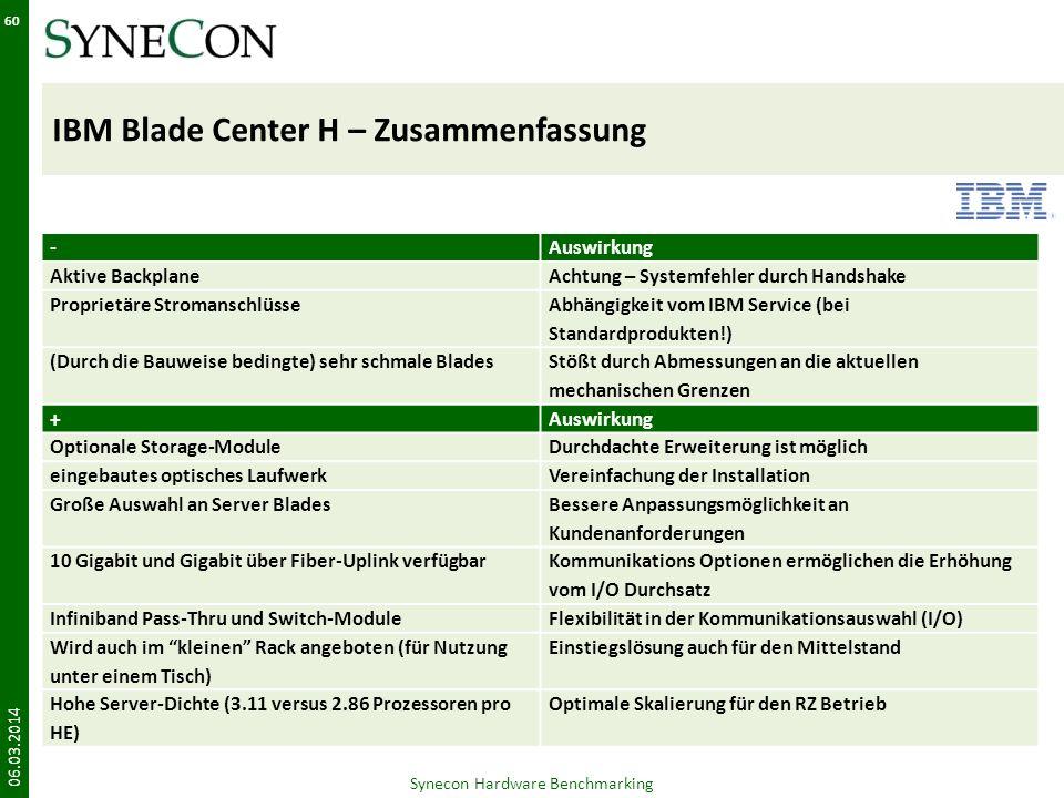 IBM Blade Center H – Zusammenfassung 06.03.2014 Synecon Hardware Benchmarking 60 -Auswirkung Aktive BackplaneAchtung – Systemfehler durch Handshake Pr
