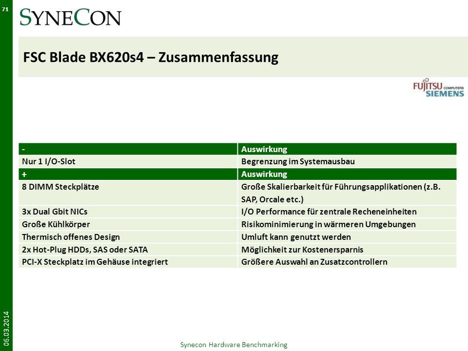 FSC Blade BX620s4 – Zusammenfassung 06.03.2014 Synecon Hardware Benchmarking 71 -Auswirkung Nur 1 I/O-SlotBegrenzung im Systemausbau +Auswirkung 8 DIM