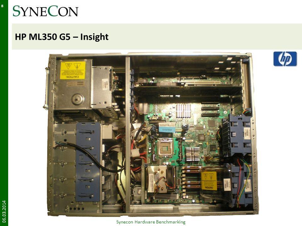 IBM x3650 – Zusammenfassung 06.03.2014 39 Synecon Hardware Benchmarking -Auswirkung Lights out nur über Zusatzinformationen im Deckel verständlich Informationsquellen sind getrennt – langes Suchen an unterschiedlichen Stellen Schlechtester Kabelarm im Vergleich; Kabelarm ist komplett geschlossen Kabelarme mehrerer Server behindern sich gegenseitig Kabelsystem erhöht den Zeitaufwand; Blockierung des Luftstromes Schlechte Energieeffizienz: verbraucht 970 W (RX300 S4: 726 W) Nicht energieeffizient – erhöhte Folgekosten im Betrieb (nicht State-Of-The-Art) 4x PCI Slotseingeschränkte Erweiterungsmöglichkeiten Begrenzung auf 8 HDDs (2,5) Begrenzte Storagekapazität, Erweiterung nur extern möglich Einschränkung in den Einsatzmöglichkeiten +Auswirkung VGA und USB im Frontbereich Schneller, einfacher Anschluß externer I/O Geräte möglich – keine kompliziert Kabelführung an die Rückseite oder Ausbau notwendig 3,5 und 2,5 HDDsBessere Anpassung an Kundenanforderungen möglich Sehr übersichtlicher AufbauDamit schnellere Fehlerlokalisierung möglich Volle Redundanz der LüfterRisiko Minimierung – Bessere Abführung der Wärme Hochwertige Verarbeitung Erleichterung des Komponententausches und angenehmes Handling (Qualitätsmerkmal) Bis 48GB RAMSkalierbar auch für speicherintensive Applikationen