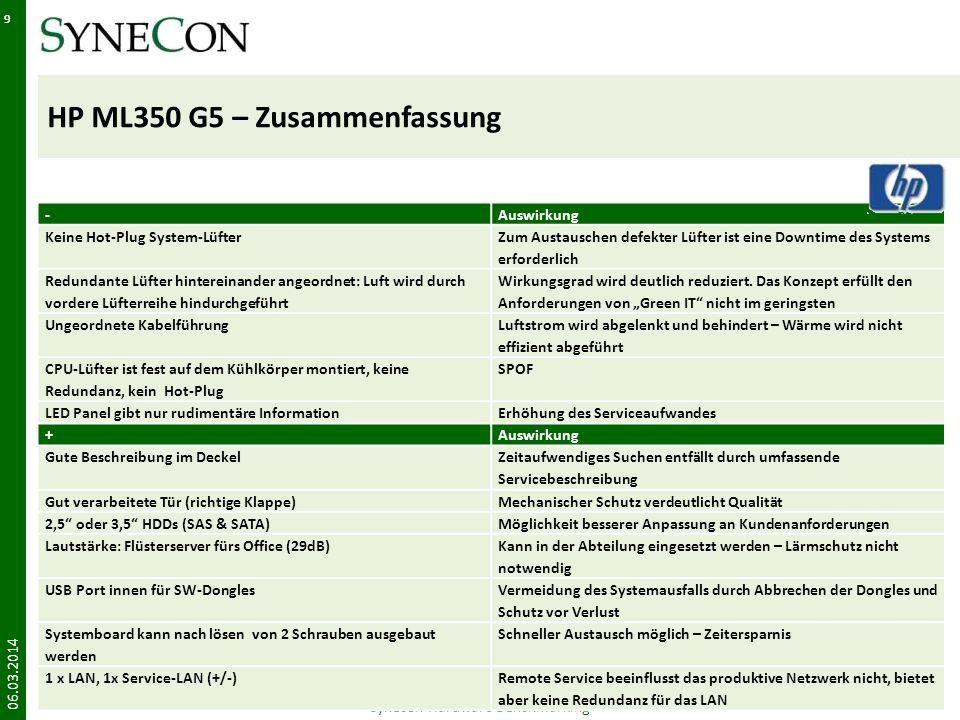 HP ML350 G5 – Zusammenfassung 06.03.2014 Synecon Hardware Benchmarking 9 -Auswirkung Keine Hot-Plug System-Lüfter Zum Austauschen defekter Lüfter ist