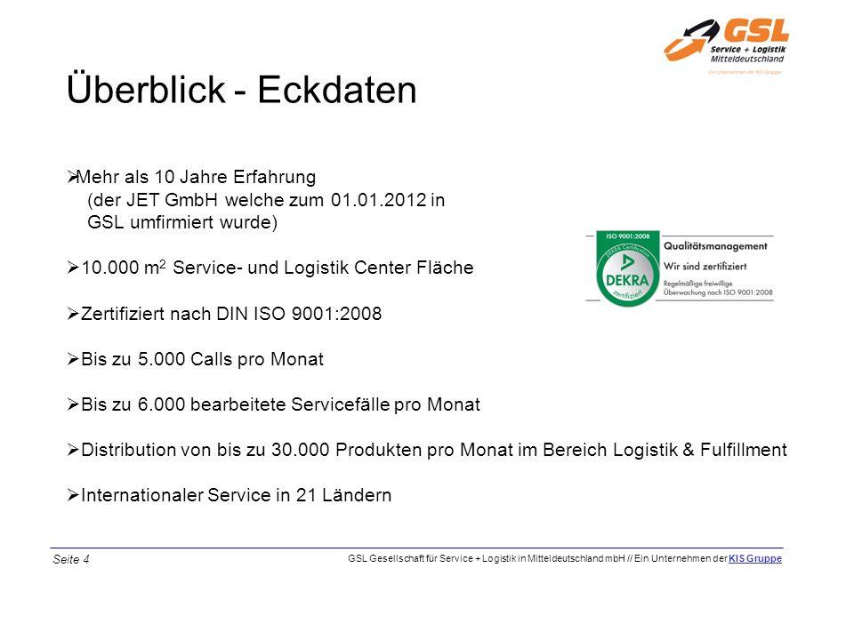 Überblick - Eckdaten Mehr als 10 Jahre Erfahrung (der JET GmbH welche zum 01.01.2012 in GSL umfirmiert wurde) 10.000 m 2 Service- und Logistik Center
