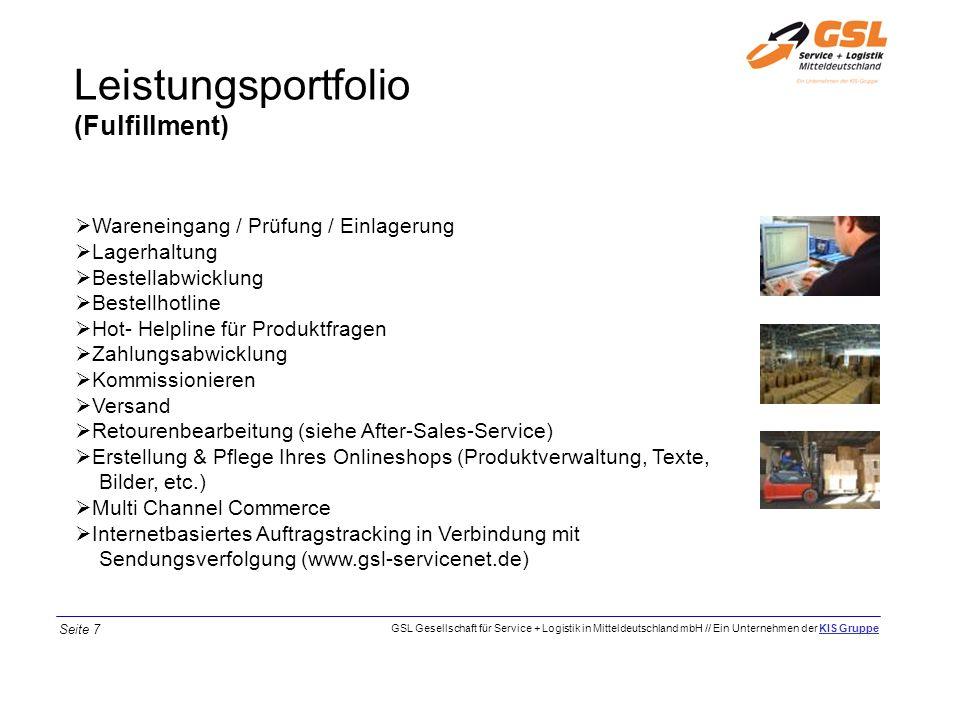 Leistungsportfolio (Fulfillment) Wareneingang / Prüfung / Einlagerung Lagerhaltung Bestellabwicklung Bestellhotline Hot- Helpline für Produktfragen Za