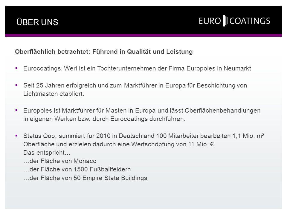 ÜBER UNS Oberflächlich betrachtet: Führend in Qualität und Leistung Eurocoatings, Werl ist ein Tochterunternehmen der Firma Europoles in Neumarkt Seit
