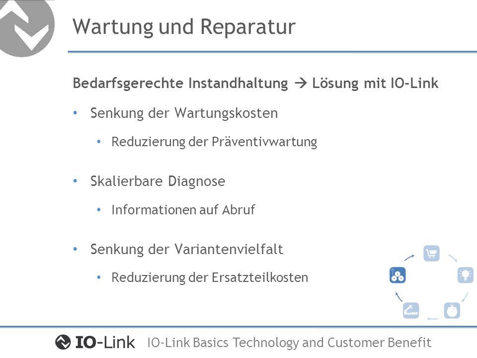IO-Link Basics Technology and Customer Benefit Wartung und Reparatur Bedarfsgerechte Instandhaltung Lösung mit IO-Link Senkung der Wartungskosten Redu