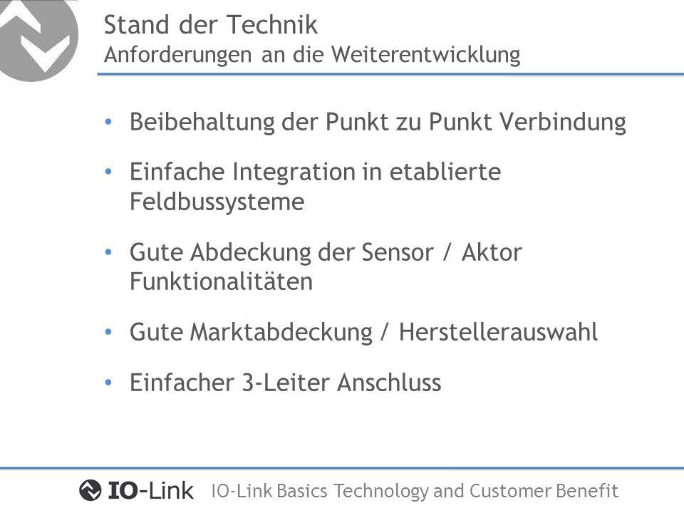 IO-Link Basics Technology and Customer Benefit Stand der Technik Anforderungen an die Weiterentwicklung Reduzierung Bandbreite der Signalformen Kommunikation in die unterste Feldebene Kombinierte Übertragung Analog / Binärsignale Reduzierung der Verkabelungsaufwände Konsistente Parameter Datenhaltung