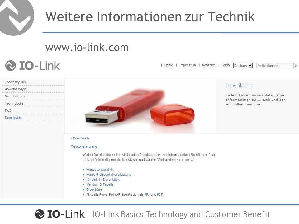 IO-Link Basics Technology and Customer Benefit Lebenszyklus und Anwendungsvorteile Markt und Nachfrage Entwicklung und Konstruktion Montage und Inbetriebnahme Betrieb Wartung und Instandhaltung