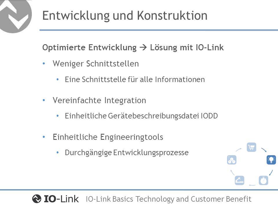 IO-Link Basics Technology and Customer Benefit Montage und Inbetriebnahme Effiziente Inbetriebnahme Lösung mit IO-Link Montagezeiten reduzieren Optimierter mechanischer Aufbau Vereinfachung der Verkabelung Nutzung von ungeschirmter M12 Standardleitung Automatisieren der Inbetriebnahme Konfiguration auf Knopfdruck