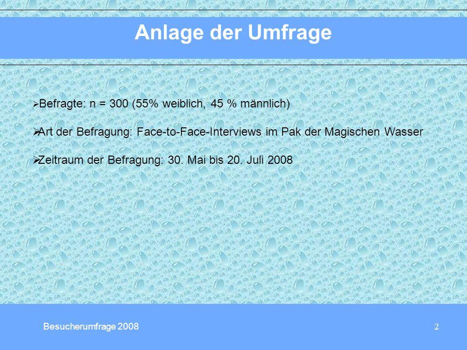 2 Anlage der Umfrage Besucherumfrage 2008 Befragte: n = 300 (55% weiblich, 45 % männlich) Art der Befragung: Face-to-Face-Interviews im Pak der Magischen Wasser Zeitraum der Befragung: 30.