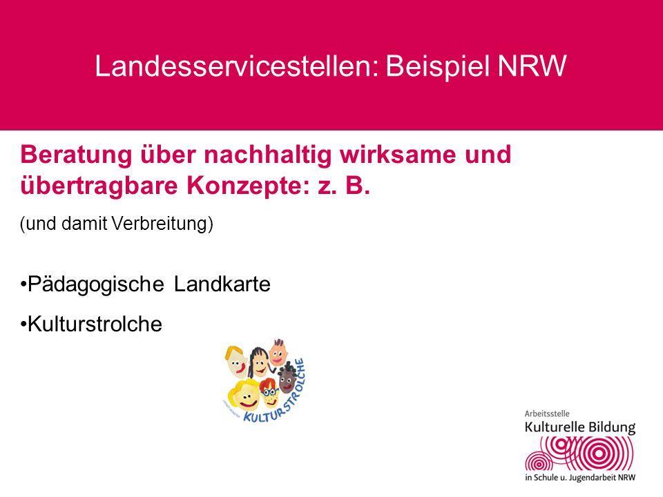 Landesservicestellen: Beispiel NRW Beratung über nachhaltig wirksame und übertragbare Konzepte: z. B. (und damit Verbreitung) Pädagogische Landkarte K