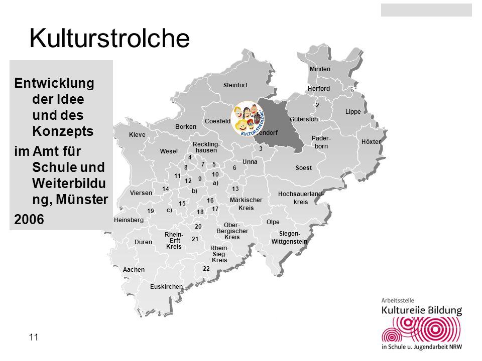 11 Kulturstrolche Entwicklung der Idee und des Konzepts im Amt für Schule und Weiterbildu ng, Münster 2006 3 6 4 7 5 9 10 8 14 11 12 15 16 13 18 17 19