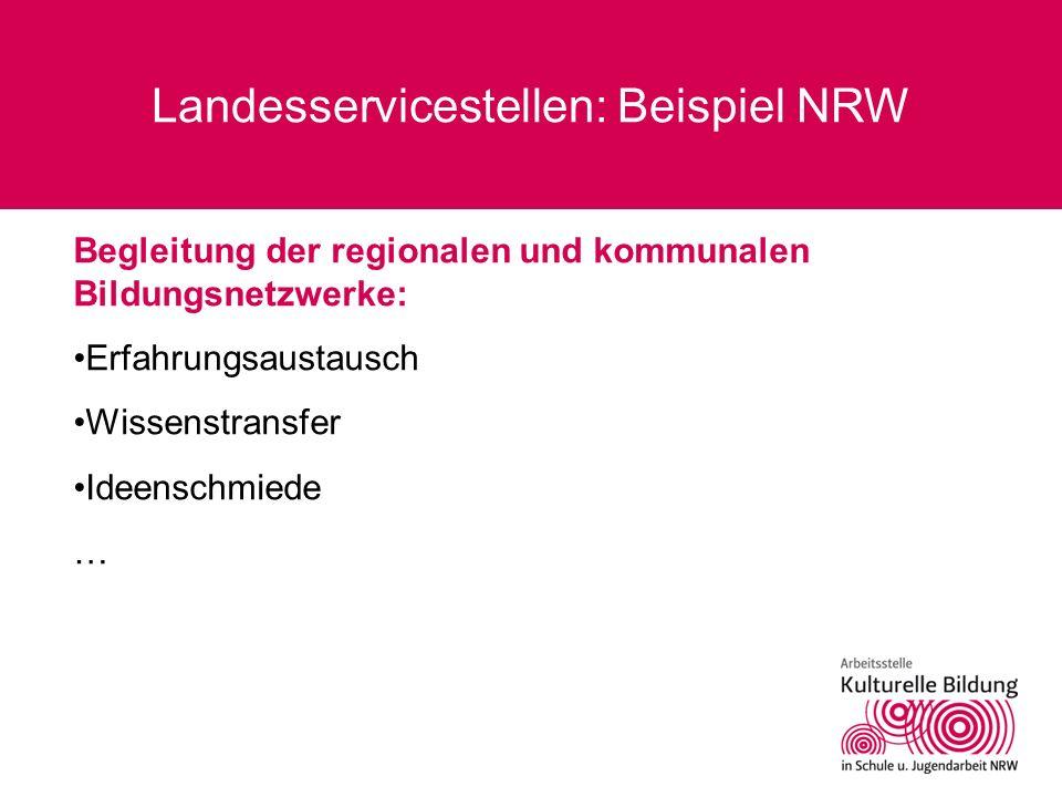Landesservicestellen: Beispiel NRW Begleitung der regionalen und kommunalen Bildungsnetzwerke: Erfahrungsaustausch Wissenstransfer Ideenschmiede …