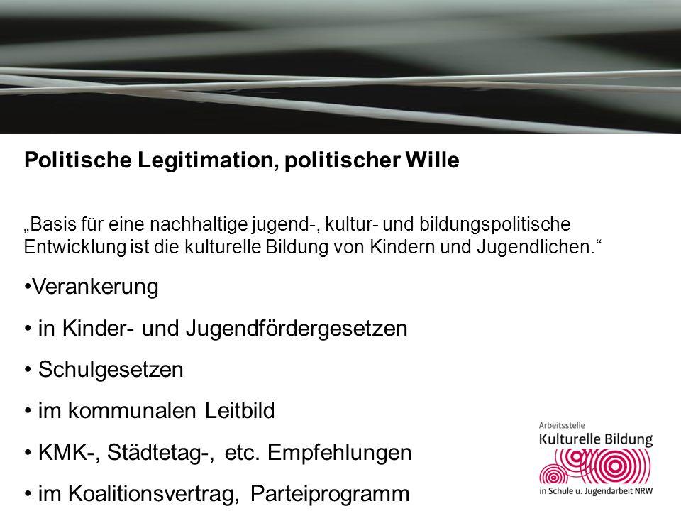 Kulturelle Bildung in NRW Politische Legitimation, politischer Wille Basis für eine nachhaltige jugend-, kultur- und bildungspolitische Entwicklung is