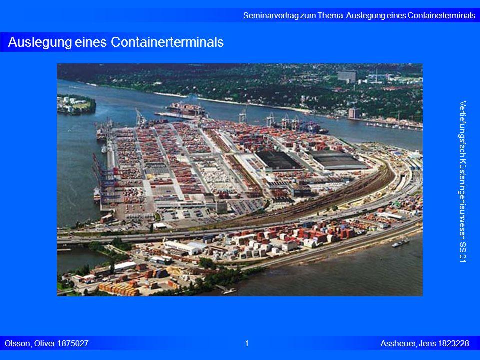 Auslegung eines Containerterminals Seminarvortrag zum Thema: Auslegung eines Containerterminals Olsson, Oliver 18750271 Assheuer, Jens 1823228 Vertief