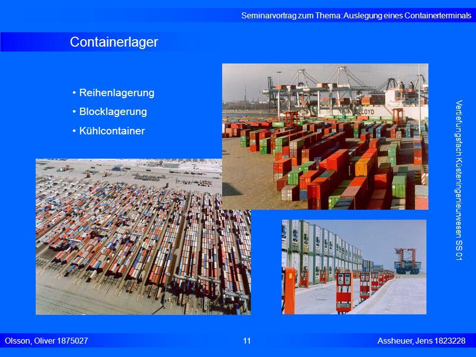 Containerlager Seminarvortrag zum Thema: Auslegung eines Containerterminals Olsson, Oliver 187502711 Assheuer, Jens 1823228 Vertiefungsfach Küsteninge