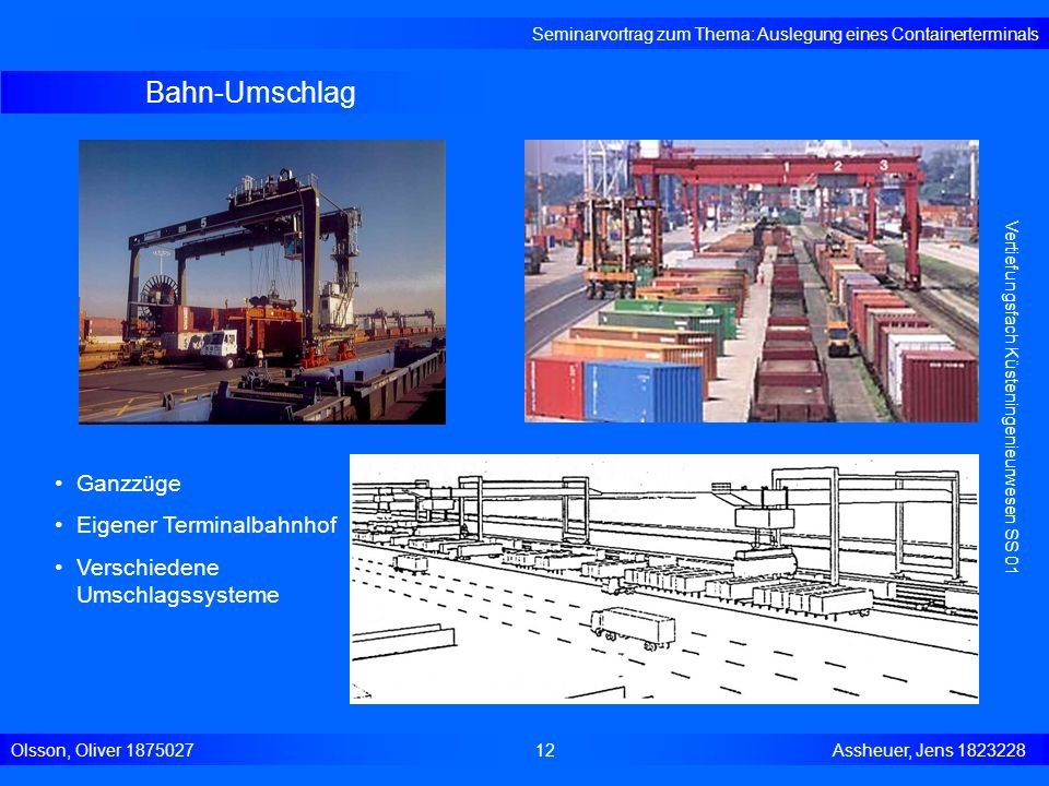 Bahn-Umschlag Seminarvortrag zum Thema: Auslegung eines Containerterminals Olsson, Oliver 187502712 Assheuer, Jens 1823228 Vertiefungsfach Küsteningen