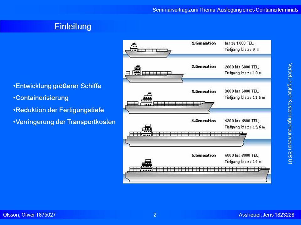 Einleitung Seminarvortrag zum Thema: Auslegung eines Containerterminals Olsson, Oliver 18750272 Assheuer, Jens 1823228 Entwicklung größerer Schiffe Co