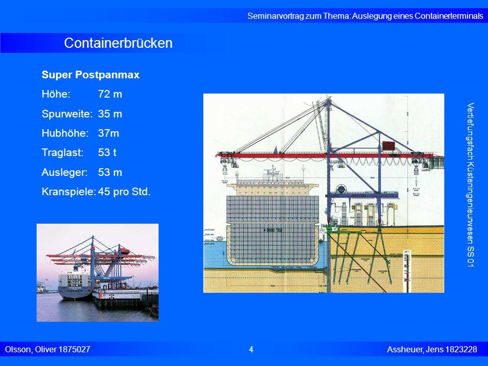Containerbrücken Seminarvortrag zum Thema: Auslegung eines Containerterminals Olsson, Oliver 18750274 Assheuer, Jens 1823228 Vertiefungsfach Küstening