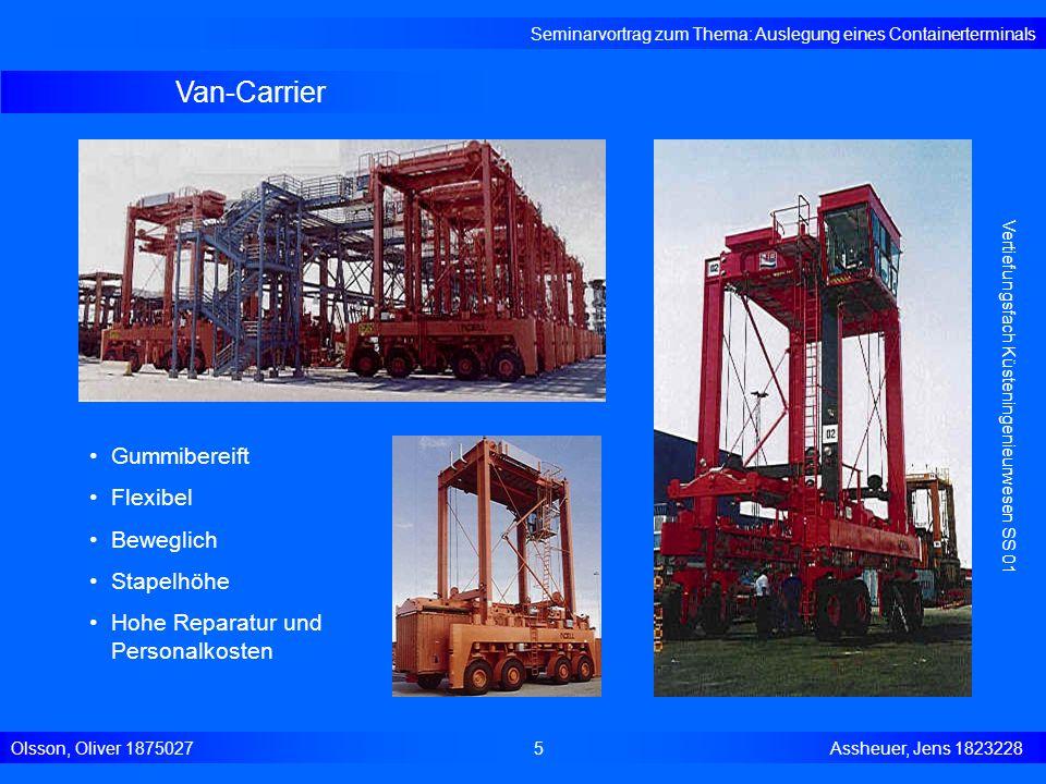 Van-Carrier Seminarvortrag zum Thema: Auslegung eines Containerterminals Olsson, Oliver 18750275 Assheuer, Jens 1823228 Vertiefungsfach Küsteningenieu