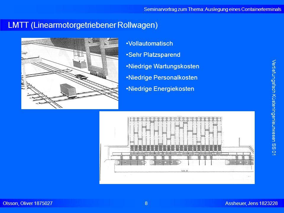 RTG (Rubber-Tired-Gantry-Cranes) Seminarvortrag zum Thema: Auslegung eines Containerterminals Olsson, Oliver 18750279 Assheuer, Jens 1823228 Vertiefungsfach Küsteningenieurwesen SS 01 Gummibereift: Drehung der Räder Containerstapelung: 5-7 nebeneinander 4-6 übereinander Flexibel: Einsetzbar für mehrere Blöcke Kapazität: ab 300.000 Container wirtschaftlich
