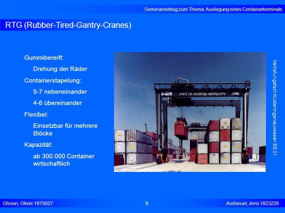 RTG (Rubber-Tired-Gantry-Cranes) Seminarvortrag zum Thema: Auslegung eines Containerterminals Olsson, Oliver 18750279 Assheuer, Jens 1823228 Vertiefun