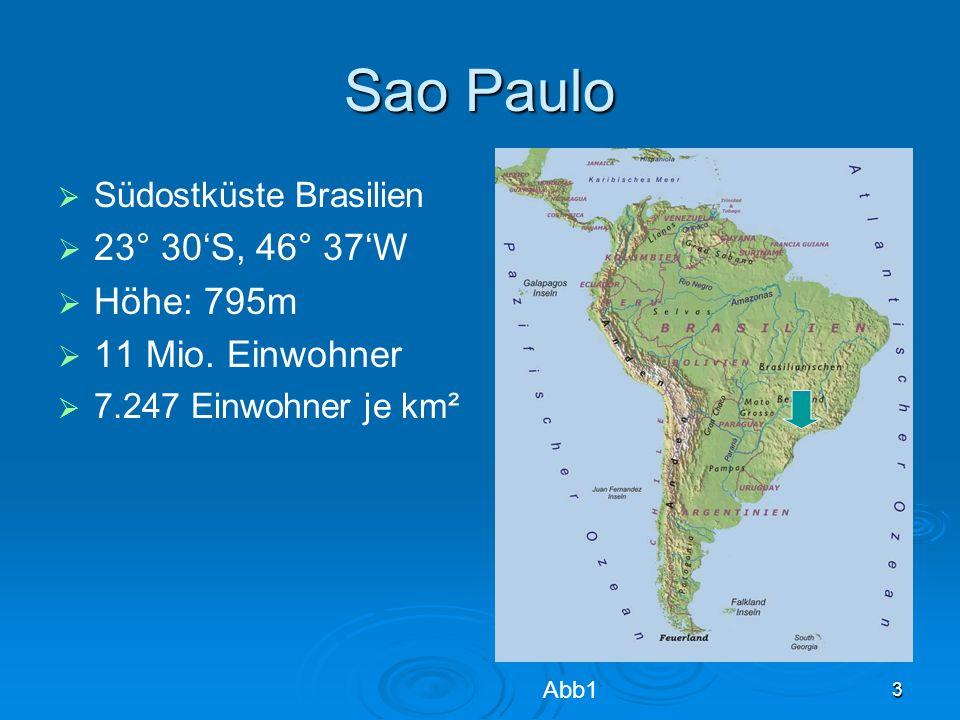 3 Sao Paulo Südostküste Brasilien 23° 30S, 46° 37W Höhe: 795m 11 Mio. Einwohner 7.247 Einwohner je km² Abb1
