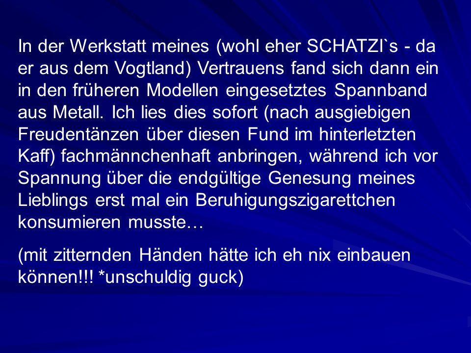 In der Werkstatt meines (wohl eher SCHATZI`s - da er aus dem Vogtland) Vertrauens fand sich dann ein in den früheren Modellen eingesetztes Spannband aus Metall.