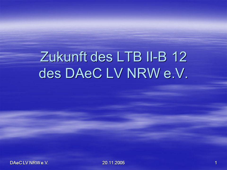 DAeC LV NRW e.V.20.11.200512 Alternative ohne CAMO+ Instandhaltung in Vereinswerkstatt als Betriebsstätte des Instandhaltungsbetriebes Instandhaltung in Vereinswerkstatt als Betriebsstätte des Instandhaltungsbetriebes Keine vertragliche Anbindung an CAMO+ Keine vertragliche Anbindung an CAMO+ Vorstellung zur Jahresnachprüfung bei einer freien CAMO (Achtung: hier kein + ) Vorstellung zur Jahresnachprüfung bei einer freien CAMO (Achtung: hier kein + ) CAMO empfiehlt Verlängerung ARC CAMO empfiehlt Verlängerung ARC Behörde hat 30 Tage Zeit ARC zu verlängern (und das in der Flugsaison ) Behörde hat 30 Tage Zeit ARC zu verlängern (und das in der Flugsaison )