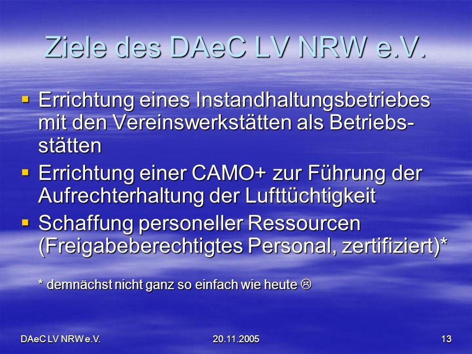 DAeC LV NRW e.V.20.11.200513 Ziele des DAeC LV NRW e.V. Errichtung eines Instandhaltungsbetriebes mit den Vereinswerkstätten als Betriebs- stätten Err