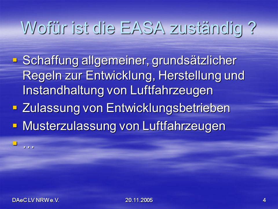 DAeC LV NRW e.V.20.11.20055 Das bedeutet für unseren LTB EASA schafft das Regelwerk EASA schafft das Regelwerk LTB des Landesverbandes müsste für seinen Bereich erforderliche Regeln umsetzen LTB des Landesverbandes müsste für seinen Bereich erforderliche Regeln umsetzen LBA würde Umsetzung überwachen LBA würde Umsetzung überwachenZwischenergebnis: Bloß keine Panik!